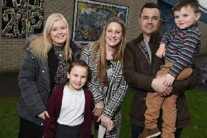 Event organisers Abby Cunliffe and Laura Melling, with Gregg Molyneux, four-year-old Seth and his sister Ava, seven