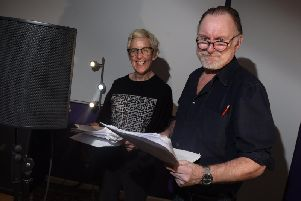 Actors Julie Hesmondalgh and Robert Glenister, at Wigan-based audio recording company Bamalam Production - they are recording a new audio drama with famous actors.