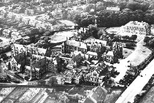 An aerial view of the Wigan Infirmary site in the early 1900s