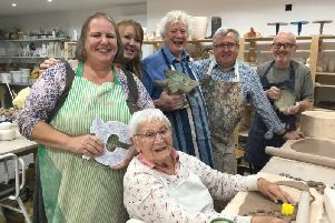 The Friday group of the Southport Contemporary Arts (SCA) who are holding an exhibition - CER�MICA. Members are from Wigan and Lancashire