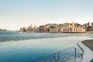 A view from The Kerry Hotels infinity pool, looking out onto the striking Victoria Harbour.