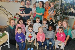 Kids and staff at Little Acorns Day Nursery, Dicconson Terrace, Wigan.