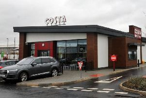 The Costa on Robin Park retail park which had its windows smashed