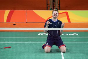 GOLDEN MOMENT: Marcus Ellis reacts following victory in the men's doubles bronze medal match in Rio back in 2016. Picture: Owen Humphreys/PA