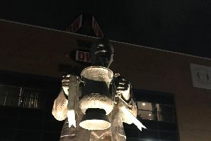 The vandalised statue at the DW Stadium on Sunday night