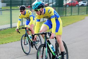 Damien Clayton and Aaron Chambers-Smith on their way to podium places at Wakefield.
