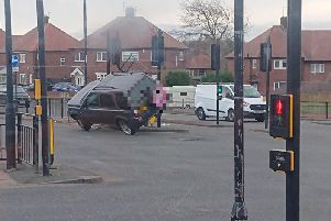 No one was injured in the crash