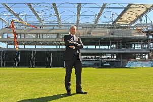 Mark Arthur, Yorkshire chief executive, with the new stand being built at Headingley Stadium. (Picture: Tony Johnson)