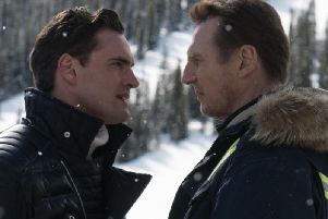 Tom Bateman as Trevor Calcote aka Viking and Liam Neeson as Nelson Coxman in Cold Pursuit