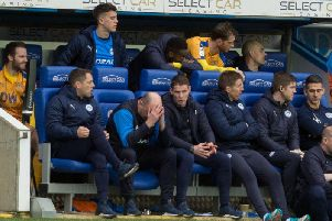 Paul Cook shows his frustration during Saturday's loss to Reading