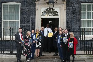 Jo Platt (far right) joins other MPs and the Dogs Trust at Downing Street to demand action on puppy smuggling