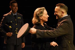 Isobel Middleton is Isobel and  Robin Simpson as Benedick in Much Ado About Nothing