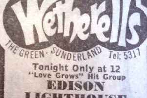 The advert for the appearance of Edison Lighthouse at Wetherells.