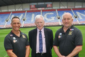 Shaun Edwards was unveiled alongside Ian Lenagan and Adrian Lam last August