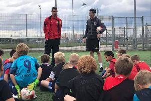 Matty Blair speaks to youngsters working with the Club Doncaster Foundation