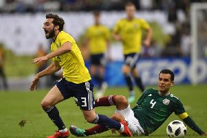 Graeme Shinnie playing for Scotland against Mexico