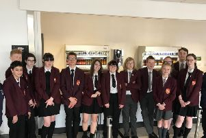 Rainford High School's student council in the school canteen