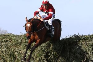 Tiger Roll ridden by Jockey Davy Russell on the way to winning the 2018 Grand National