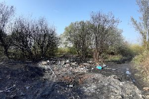 The site in Hindley where toxic objects were placed in a fire