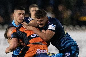 Ollie Partington (right) joins James Shorrocks in defence at Castleford last week