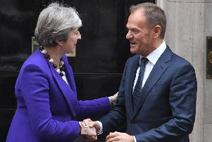 Prime Minister Theresa May with Donald Tursk, the president of the European Council. Photo: Victoria Jones/PA Wire