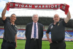 Shaun Edwards with Ian Lenagan and Adrian Lam at last August's press conference
