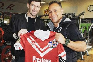 Steven Gerrard with Adrian Lam at Warriors' training ground today. Picture: Wigan Warriors