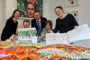 Pictured are Alastair Hart of Persimmon with L-R  Emma Wilson (left) of Artistic Spectrum and artists Lyn Johnson, Sarah Moulson and Paula Nehls.