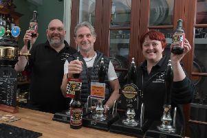 The launch event for Crankshaft Brewery based in Leyland who are launching a new beer for Carl Fogarty at Cann Bridge Ale House, with Angela and Haydn Williams