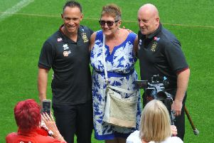 Shaun Edwards posed for pictures with Wigan fans after his unveiling at the DW Stadium with Adrian Lam last August