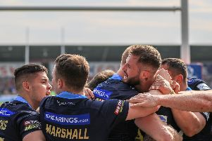 Liam Marshall (second from left) celebrates victory at Salford