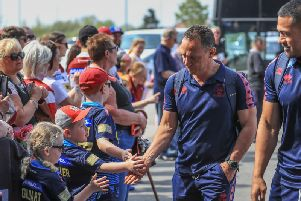 Adrian Lam greets fans at Salford on Monday