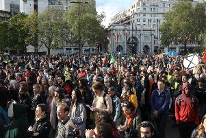 Extinction Rebellion climate change campaigners in London.