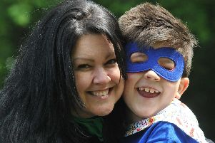 Jane Cubbin with her superhero son Josh