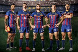 Catalans Dragons in their Nou Camp kit