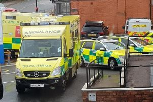Emergency services outside the old Atherton library after last year's multiple stabbing