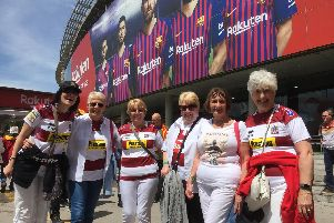 Warriors fans at the Nou Camp