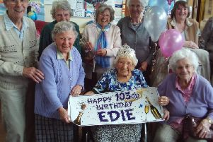 Edie Littlewood is pictured with friends at Chesterfield Care Group, a charity which provides day care for elderly people.