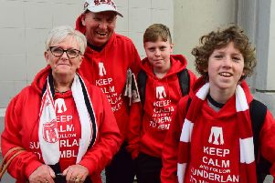 Wembley bound Sunderland fans David and Carole Hodgson with grandchildren Jack and Corey Thynne outside Sunderland railway station.