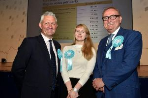 The Brexit Party's Jake Pugh,  Lucy Harris and John Longworth. Picture: Steve Riding.