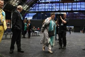 Brexit Party's Claire Fox arriving in Manchester for the count
