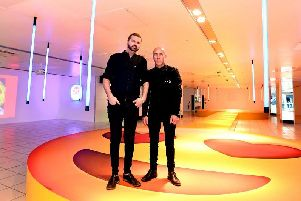 Al and Al on the emoji stage in the main headquarters of The Fire Within inside The Galleries