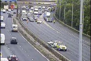 All traffic was stopped on the M6 southbound at around 7am this morning after a 4-vehicle crash between Wigan and Warrington.