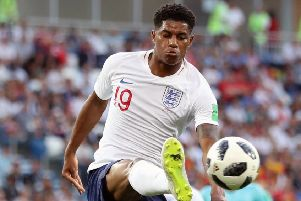 Marcus Rashford in action for England in last summer's World Cup