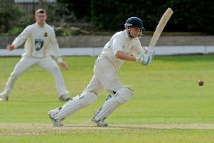 Woodlands batsman Tim Jackson in action during the Bradford Premier League clash against Pudsey St Lawrence. Pic: Steve Riding