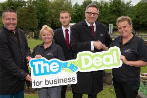 From left to tight, Wigan Councils Mark Glover , Vicky Muir, crematorium technicians Martin Smith and Simon Gregory, Kath Fleming