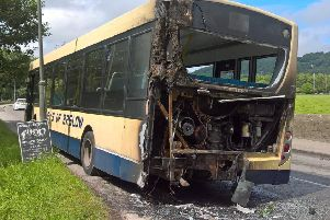 The fire-hit bus in Darley Bridge. Photo: Mark Hand