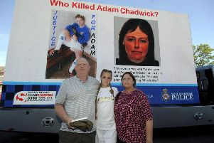 Adam Chadwick's parents, Martin and Jackie, were joined last year by granddaughter Ruby as they made public appeals for information. Picture: Simon Hulme