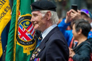 Armed Forces Day on Briggate, Leeds. Pictured Bernie Allen, 72, of Morley, Leeds, a Standard Bearer for the Malaya & Borneo Veterans.