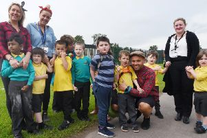 Staff and pupils from Landgate School raise money for the charity Brake